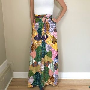 Vintage 70's High Waist Patchwork Maxi Skirt